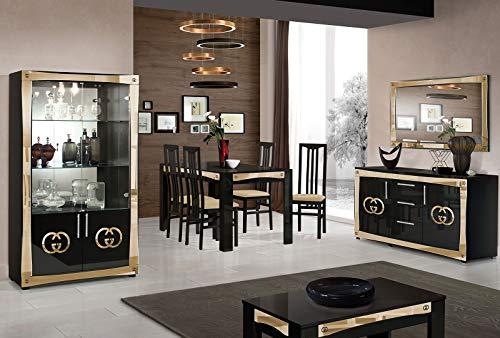 Goccia Lightning-set met vitrine + buffet + spiegel + eettafel + 4 stoelen