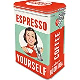 Nostalgic-Art 31104 Say it 50's - Espresso Yourself | Retro Aromadose| Blech-Dose | Kaffee-Dose | Aromadeckel | Metall