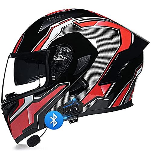 NS Cascos Moto Modulares Bluetooth + Certificación Dot Casco Flip Cascos Turismo Auriculares con Altavoz Integrado con Micrófono para Contestar Automáticamente (Color : G, Size : M)