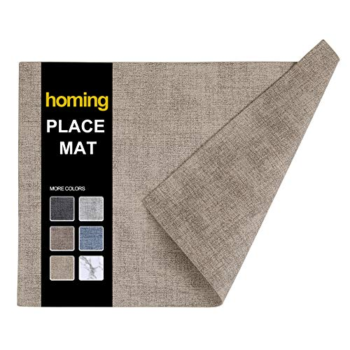 homing Faux Leather Heat Resistant Placemats Set of 6 – Waterproof Wipeable Place Mats for Dining Table, Easy to Clean Kitchen Camel Table Mats