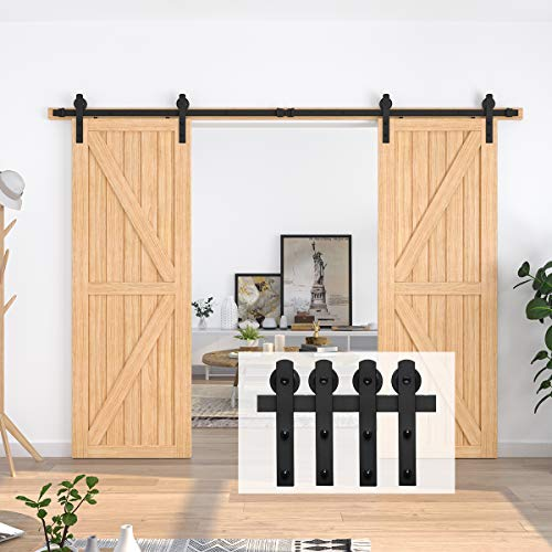 "Homlux 10ft Heavy Duty Sturdy Sliding Barn Door Hardware Kit, Double Door-Smoothly and Quietly, Easy to Install and Reusable - Fit 1 3/8-1 3/4"" Thickness & 30"" Wide Door Panel, Black(I Shape Hanger)"
