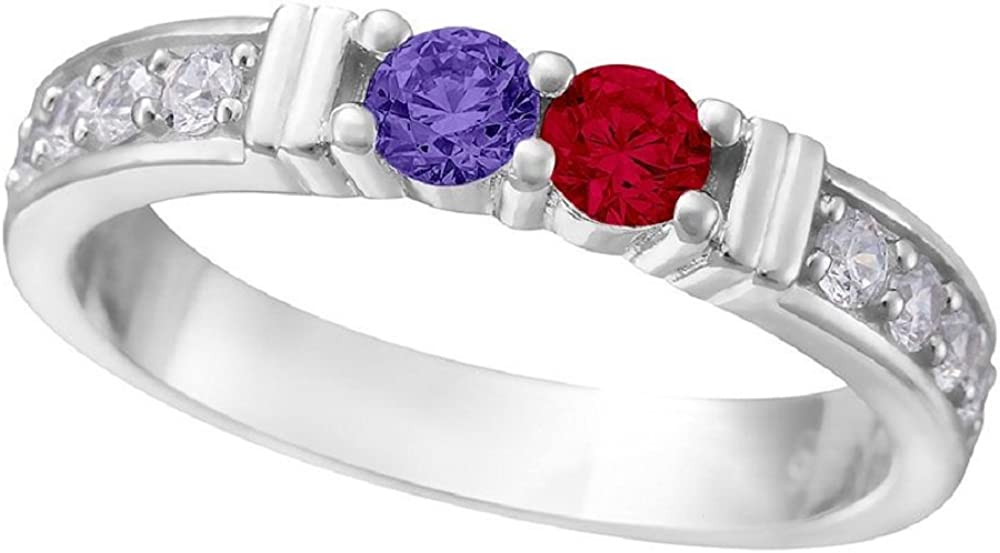 Shared Department store Prong w Over item handling Sides Couple Simulated Ring Birthstones Stone 2