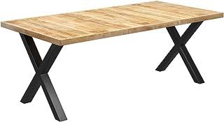 vidaXL Bois de Manguier Massif Table de Salle à Manger à Pieds en X Table à Dîner Table de Repas Meuble de Cuisine Intérie...