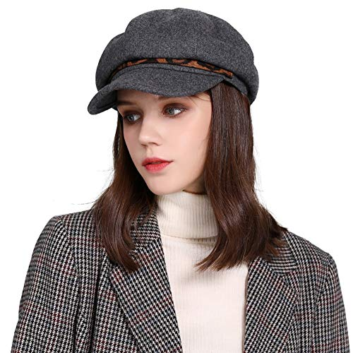 Comhats Wool Autumn Newsboy Hat for Women Warm Fashion Cabbie Gatsby Chemo Beret Caps Ladies Gray
