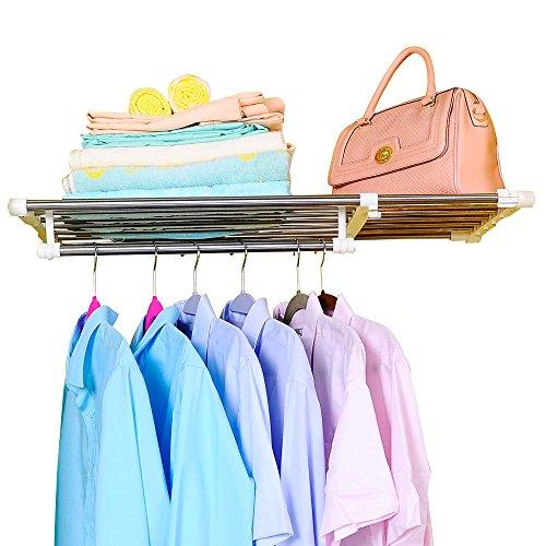 BAOYOUNI Erweiterbar Kleiderschrank Schrank Regal Stange Kleiderbügel Organizer Heavy Duty Metall Lagerregal DIY Separator Teiler Kleideraufbewahrungssysteme Garage Wandregale (65-110cm)