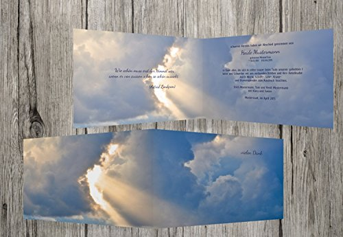 trauerkarten-druck | Trauerdanksagung | Danksagung Trauer Himmel | 20 Karten | mit Individualisierung & Umschlägen | in MitternachtsBlau