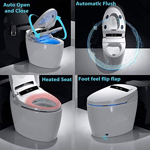 ZunFeo Smart Bidet Seat Toilet with Integrated Dual Flush with Remote Control, Elongated Smart Toilet with Advance Bidet & Soft Closing Seat, Drying, Hot Type, Hip Cleaning (Non-voice function)