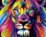 5D Diamond Painting Colourful Lion Diamond Painting for Kids Full Drill Square Diamond Painting Cross Stitch Kits for Adults Paint by Numbers Gem Art Drill and Dotz 11.8×15.7Inch