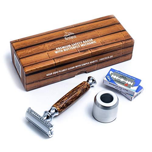 Firsteco® premium rasoir de sécurité set mécanisme papillon innovant + support rasoir + 20 lames de rasage - hommes femmes - manche en bambou fait main rasoir de Sûreté humide de Haute Qualité fermé
