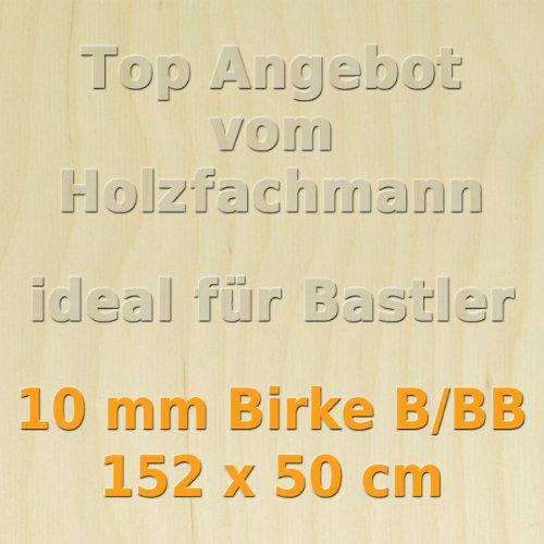 10mm Birke Sperrholzplatte Qualität B/BB (150 x 50cm) GP 30,79 €/m²