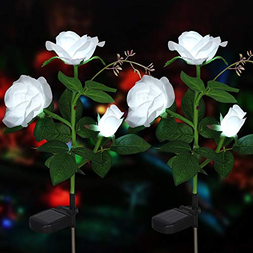 Rose Blume Solarleuchte Outdoor Spazierweg Garten Dekoration Leuchte Solar Blumen Garten Pfahllichter Pefekt Für Terrasse Hof Weihnachten Pfad Dekro (Weiße Rose, 2 PCS)