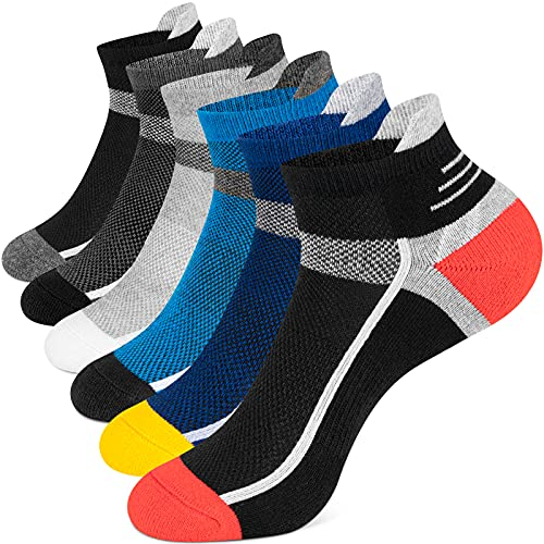 Onmaita Sneaker Socken Herren Damen, 6 Paar Kurzsocken Laufsocken Sportsocken Atmungsaktiv Wandersocken Unisex, 43 - 46