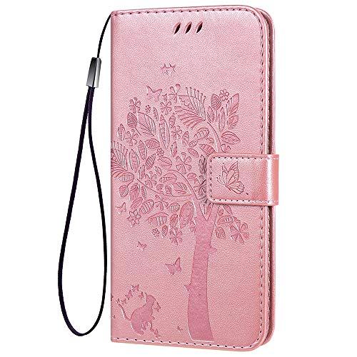 TANYO Funda Cuero para el Xiaomi Poco F3 | MI 11i 5G, Carcasa PU/TPU Cuero Billetera con Efectivo y Tarjetas Ranuras, Leather Case Cover Estuche - Oro Rosa