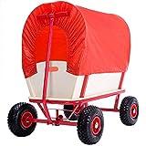 Chariot de transport jardin fêtes avec bâche de protection amovible 172x62 - Rouge
