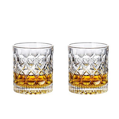 BOWD Juego de vasos de whisky, también ideales para ginebra, sin plomo, vasos de cristal de whisky, bonita caja de regalo, whisky escocés, coñac – Old Fashioned Cocktail Tumbler (280 ml * 2)