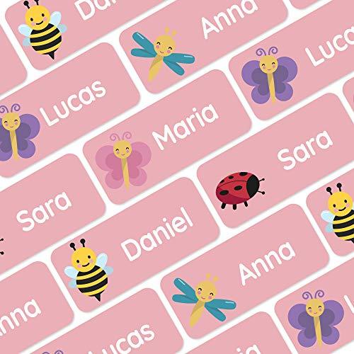 120 Namensaufkleber für Kleidung und andere Dinge - Insekten - Rosa