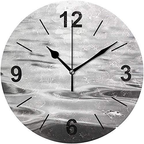 L.Fenn Wandklok, rond, waterdruppellicht, abstract, zwart-wit, diameter Silent, decoratief voor thuis, kantoor, keuken, slaapkamer