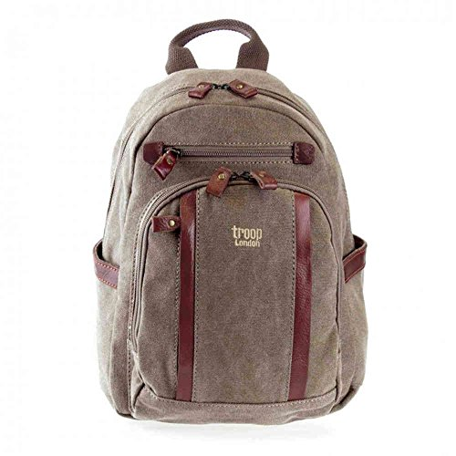 Troop London Classic Small Canvas Backpack Bag TRP0255 - Brown