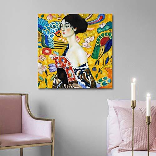 Quadri L&C ITALIA Klimt Donna con Ventaglio - Quadro Moderno per Soggiorno Camera da Letto Ufficio50 x 50 Stampa su Tela da Parete Arredamento Riproduzione Autori Famosi
