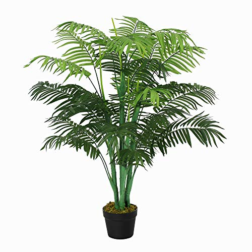 Outsunny 125cm/4FT Artificial Palm Plant Decorative Tree w/ 18 Leaves Nursery Pot Fake Plastic Indoor Outdoor Greenery Home Office Décor