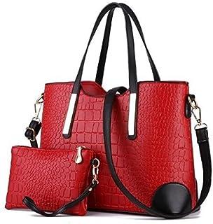 Di Grazia Women's Shoulder Bag with 1 Wrist Clutch (Red, red-croc-2in1-combo)