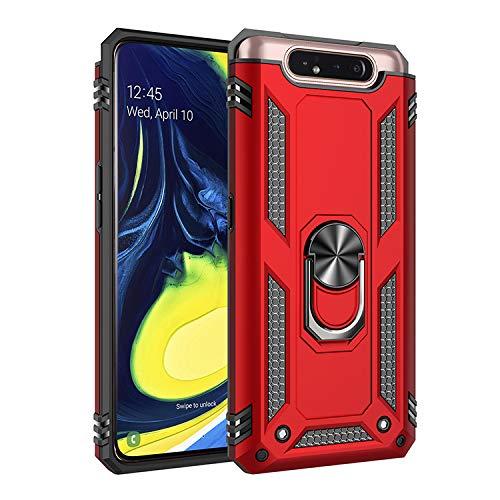 BestST Galaxy A80 Hülle, für Samsung Galaxy A80 Schutzhülle 360 Grad Drehbar Ringhalter mit Magnetischer Handyhalter Auto Handy hülle + Panzerglas Bildschirmschutz - Rot