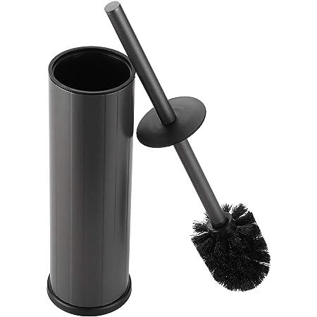 bgl Brosse WC et support, support de brosse de toilette en silicone, 2 têtes de brosse, brosse WC ronde en aluminium pour le nettoyage de la salle de bain, brosses de toilette (noir mat)