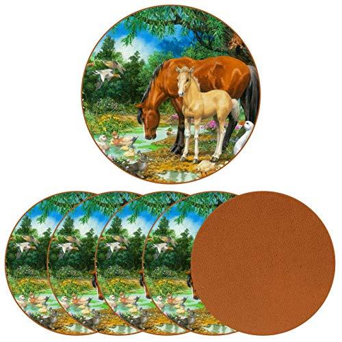 BENNIGIRY Potro Yegua Arroyo Ganso Caballos Animales Pintura Posavasos de Cuero Tapetes Redondos Resistentes al Calor para Tazas Taza de café Tapetes Individuales para Tazas de Vidrio, 6 Piezas