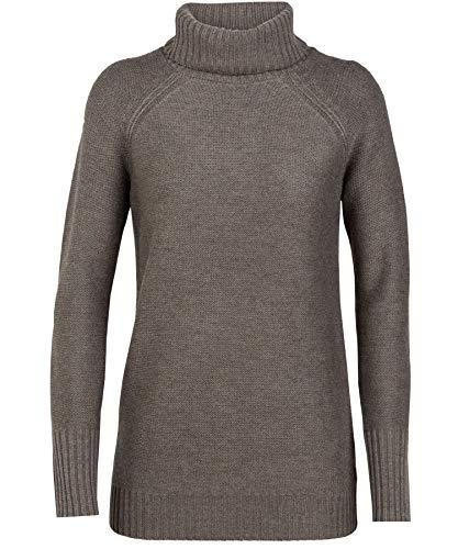 Icebreaker Damen Merino Waypoint Rollkragenpullover Merino Wool, Damen, Sport-Sweatshirt, Women's Waypoint Roll Neck Sweater, Toast Heather, Large