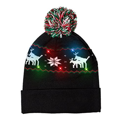 Windy City Novelties LED Light-up Knitted Ugly Sweater Reindeer on Reindeer Holiday Xmas Christmas Beanie - 3 Flashing Modes