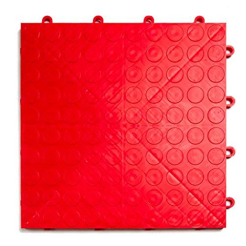 GarageDeck Coin Pattern, Durable Interlocking Modular Garage Flooring Tile (24 Pack), Red