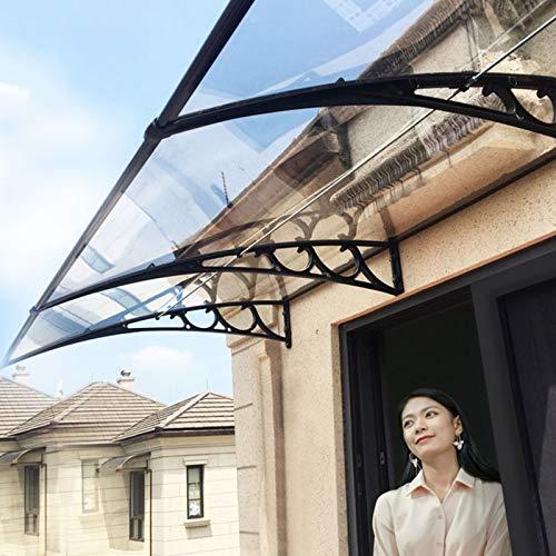 Tejadillo De Protección 150×80 Marquesina para Puertas Y Ventanas Cubierta De Policarbonato para Protección contra La Lluvia Y La Luz Solar(Color: Claro+Soporte Negro,12 Tamaños)