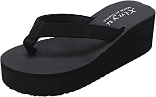 UULIKE Sandales Plates Femmes,Plage Compensees Plates Rome Flip Flop Slippers,Sandales Flats Slippers Casual Nu-Pieds Creu...