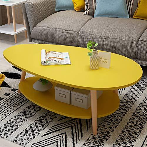 Mesa de té de madera maciza de doble capa, café creativo, mesa redonda pequeña, mesa auxiliar, balcón doble nórdico, mesa pequeña, sala de estar moderna, mesita de noche simple,Amarillo