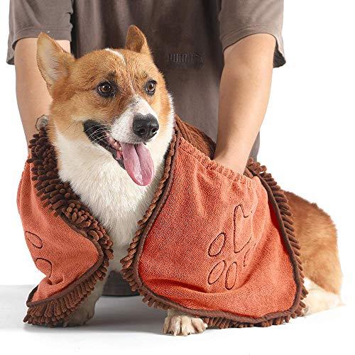 YOMERA Saugfähiges Haustierhandtuch, 80x35cm Mikrofaser-Hundebadetuch Haustierhandtuch, Hundemikrofaser-Trockentuch mit Handtaschen-Haustier-Badetuch Schnelltrocknend und maschinenwaschbar