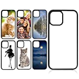 6 Pieces Sublimation Blanks 2D Phone Case Covers Soft Rubber Anti-Slip Phone Case Compatible with iPhone 12/12 Pro Blank Sublimation Protective DIY Phone Case, 6.1 Inch, 2020 (Black)