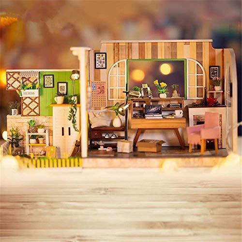 Taoke DIY Haus DIY Puppenhaus Göteborg Studio mit Möbel Musik-Licht-Abdeckung 30 * 12 * 16.2cm Geschenk One Size Dollhouse-Mini (Farbe: Mehrfarbig, Größe: Eine Größe) 8bayfa