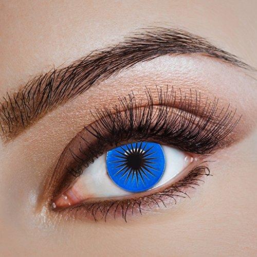 aricona Kontaktlinsen - Blau-schwarze Kontaktlinsen Motivlinsen – deckende Kontaktlinsen ohne Stärke für Halloween, Karneval, Fasching und Kostüm-Partys, 2 Stück