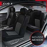 DBS - Housses de siège sur Mesure pour Clio 4 (09/2012 à 05/2019) | Housse Voiture/Auto d'intérieur | Haut de Gamme | Jeu Complet en Tissu | Montage Rapide