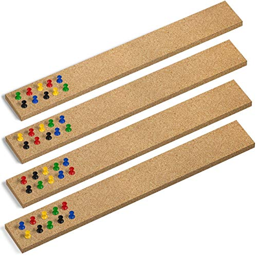 "Premium Cork Strips - 100% Natural Cork - 2"" x 15"" - Extra Thick 1/2"" - Set of 4 Bulletin Bar Strips – 3M Adhesive Squares Included - Bonus Push Pins"