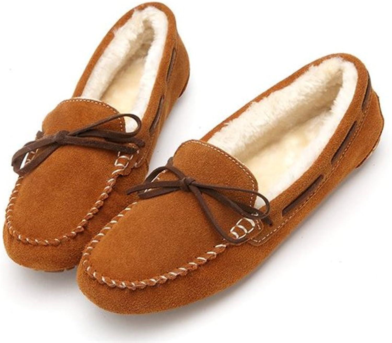 Gusha Warm peas shoes Comfortable Loafers Women's shoes Walking Flat shoes