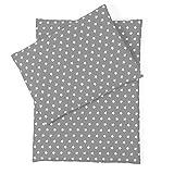 Sugarapple Little Puppenbettwäsche grau mit weißen Sternen für Puppen Größe 36 cm - 44 cm, Öko...