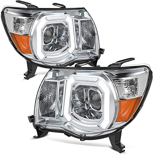 OEDRO Dual Projector Headlight Assembly Compatible with 2005-2011 Toyota Tacoma, Headlamps w/LED Daytime Running Light Tube, Crystal Clear Lens, Amber Reflector Pair Set Headlights, Chrome Housing