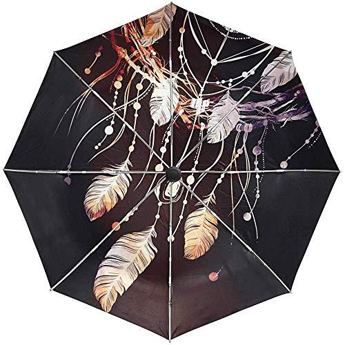 Automatische Regenschirme In-dian Tribal Dreamcatcher Rutschfester, winddichter, kompakter Regenschirm für Damen und Herren