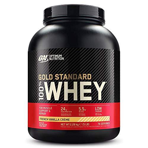 Optimum Nutrition Gold Standard Whey Eiweißpulver (mit Glutamin und Aminosäuren, Protein Shake von ON), French Vanilla Crème Eiweiß, 73 Portionen, 2,27kg