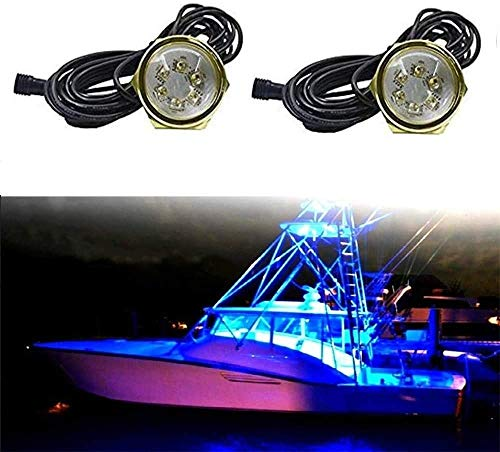 UWDESY 2PC 54W COB LED Boat Light RGB LED Boat Lights with RGB remoate Controller - 2 Pods Ip68 Water-Proof Marine Boat Drain Plug LED Light Underwater Lights Waterproof Boat Light