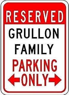 6Iron hanger& Iron Painting 8X12 INCH Metal Tin Sign Grullon Family Parking - Customized Last Name
