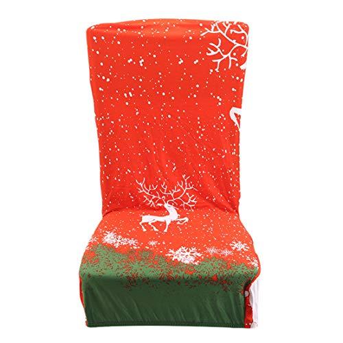 BCDZZ Elastic Stretch Dining Chair Covers Weihnachtsmotiv Design mit verschiedenen Mustern Schonbezüge für Esszimmer Hotel Weihnachtsdekoration,Stil 6