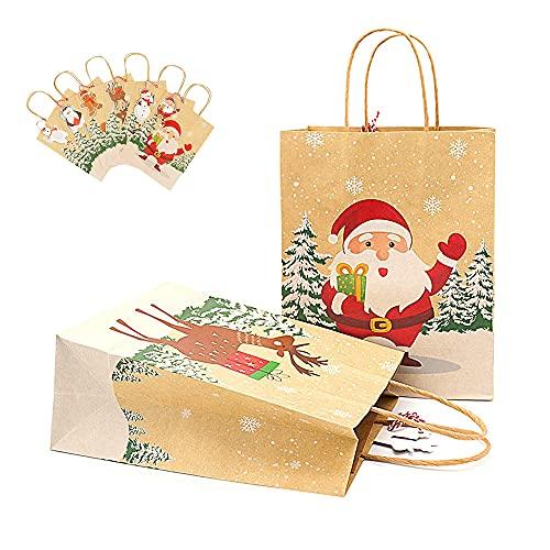 24 Piezas Bolsas Regalo Navidad, Bolsas Regalo Papel Navidad, Navideñas Bolsas Papel Kraft, Diseño Patrón Navidad para Envolver Regalos Cumpleaños Fiestas Navidad Decorar (6 Colores)