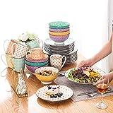 Vancasso Tafelservice Porzellan, Tulip Elegantes Geschirrset, 48 teilig Kombiservice Serie Mandala, mit Speiseteller, Dessertteller, Müslischalen und Kaffeebecher für 12 Personen - 7